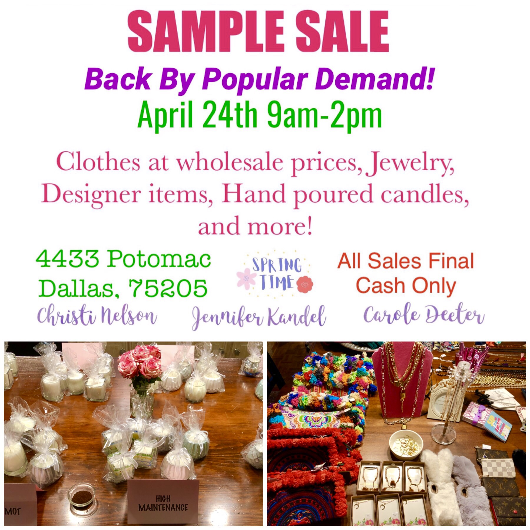 Sample Sale 4433 Potomac 4/24 9-2 – Park Cities People