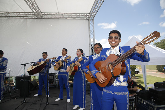 Grand Prairie High School Mariachi Azul performs on the Lexus Live Stage.