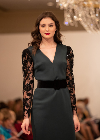 SARA ROKA Black Floral Gown