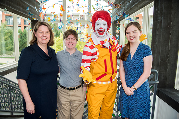 RMHD Family Kathleen Herman, Anthony Herman, Ronald McDonald, and Abigail Herman