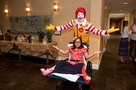 Ronald McDonald with RMHD guest Larissa Dip