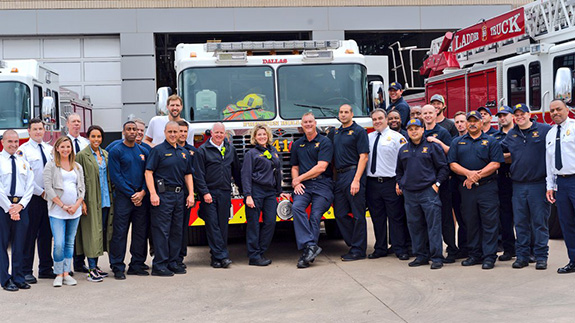 Dirk Nowitzki and Clayton Kershaw visit Dallas Fire and Rescue