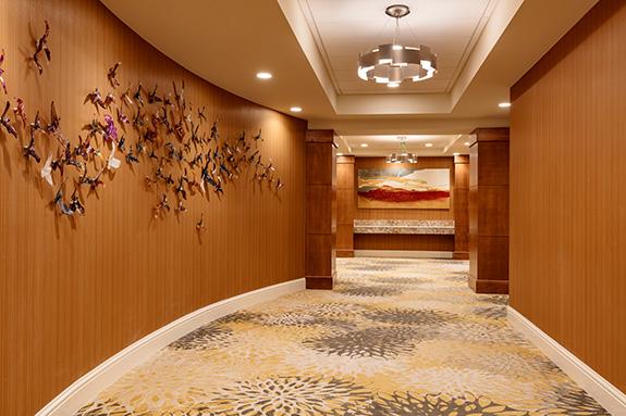 Hand blown glass birds in 1st floor hallway