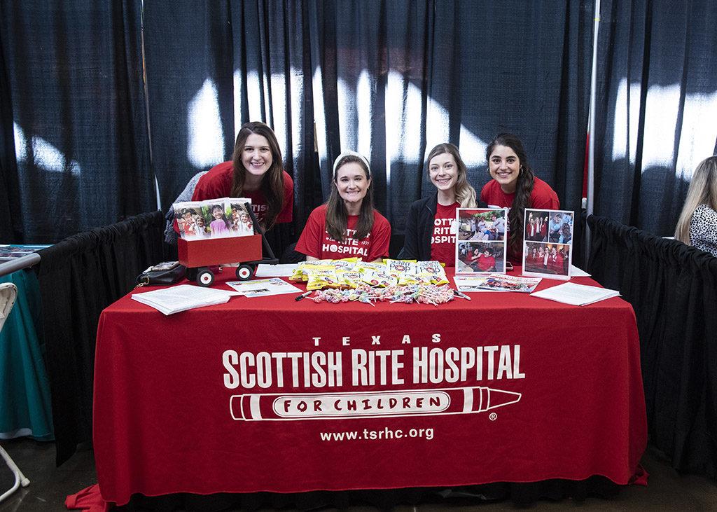 Scottish Rite Hospital volunteers Megan Farrell, Hilary Worrell, Jennifer Carter, and Erica Kadi