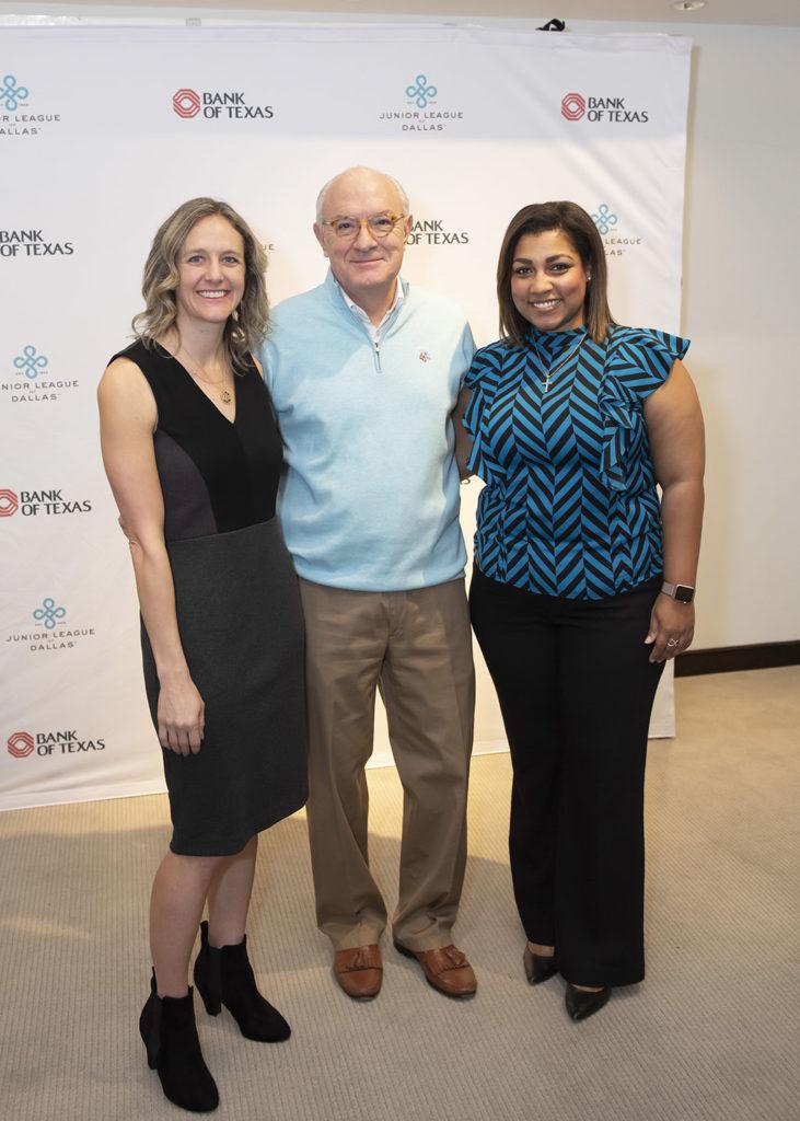 JLD President Brooke Bailey, Bank of Texas Executive Vice President Bob White, and JLD Community Vice President Christina Eubanks