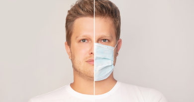 Portrait of a man adult young in a medical mask and without a mask on an isolated background
