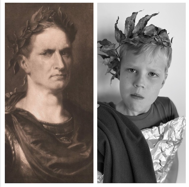 Eliot Brookshire employs her fourth-grade brother, Knox, as the model to recreate an Emperor Augustus painting.