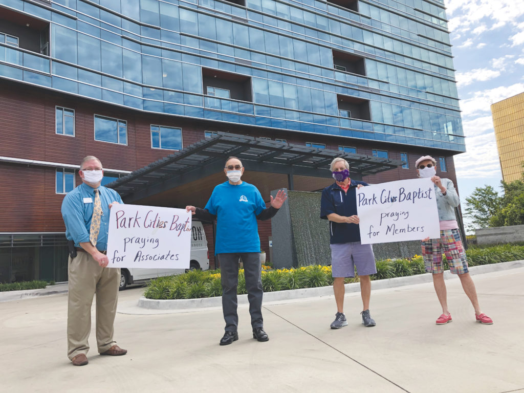 Members of Park Cities Baptist Church gather in the parking lot outside Ventana by Buckner to pray for residents and workers at the senior living community. (PHOTO: COURTESY VENTANA BY BUCKNER)