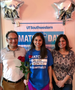 Priyanka Gaur, M.D., M.P.H. on UT Southwestern's Match Day with her father, Yogesh Gaur, and mother, Dr. Sunita Gaur.