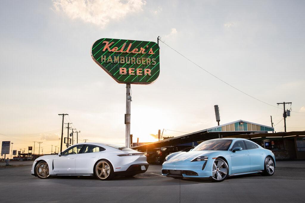 2020 Porsche Taycan 4s (Left) and 2020 Porsche Taycan Turbo